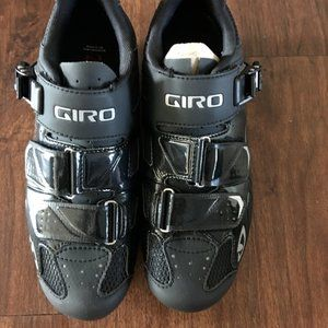 Giro Trans HV Black Leather Cycling Shoes Size 7